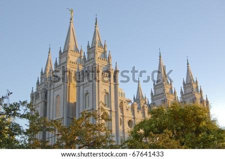 Mormon Temple in Salt Lake City Utah - stock photo