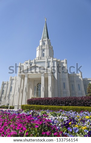Mormon Temple - The Houston Texas Temple is the 97th operating temple of The Church of Jesus Christ of Latter-day Saints. - stock photo