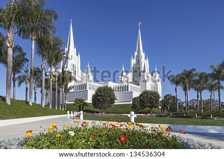 Mormon Temple - The San Diego California Temple is the 47th constructed and 45th operating temple of The Church of Jesus Christ of Latter-day Saints. - stock photo