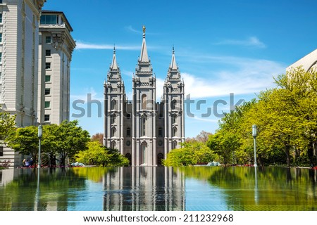 Mormons Temple in Salt Lake City, UT on a sunny day - stock photo