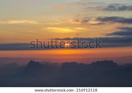 morning and sun - stock photo
