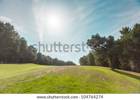 Morning and the golf course - stock photo