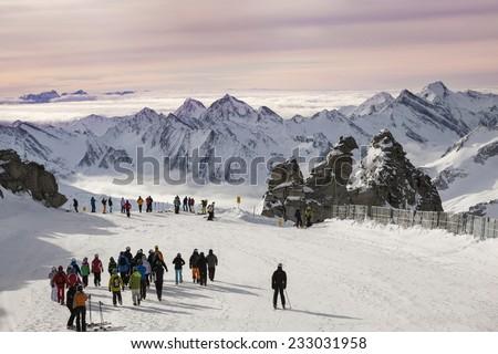 Morning at Hintertux Glacier with gondolas, ski runs and pistes in Ziilertal Alps. Austria - stock photo