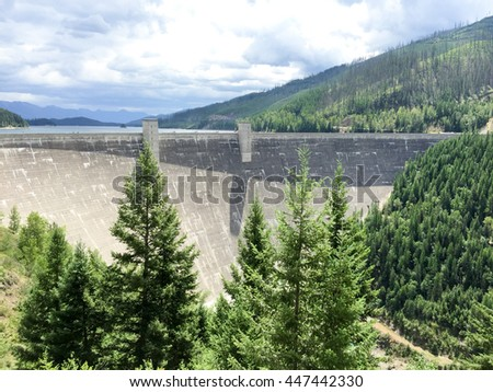 Morning at Hungry Horse Dam, Montana - stock photo