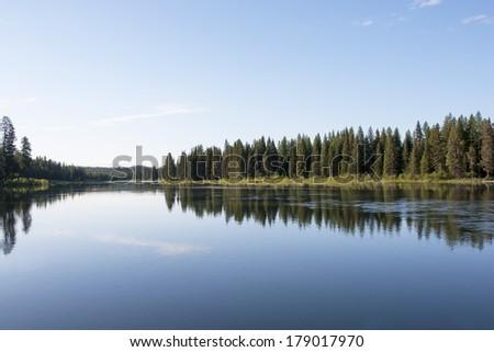 morning at lake - stock photo