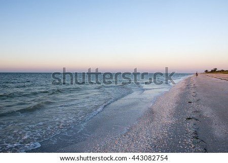 Morning at Lighthouse Beach on Sanibel Island, Florida - stock photo
