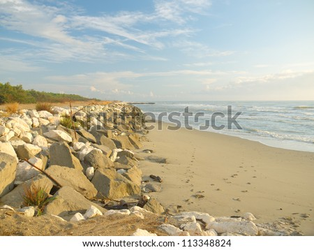 Morning at the empty beach - stock photo