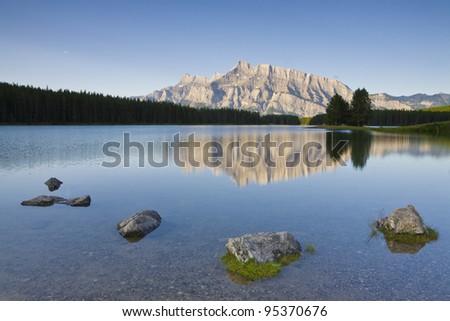 Morning at Two Jack Lake, Banff National Park (Alberta, Canada) - stock photo