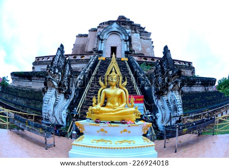 Morning at wat jedi luang temple, a temple in Chiang Mai, Thailand. - stock photo