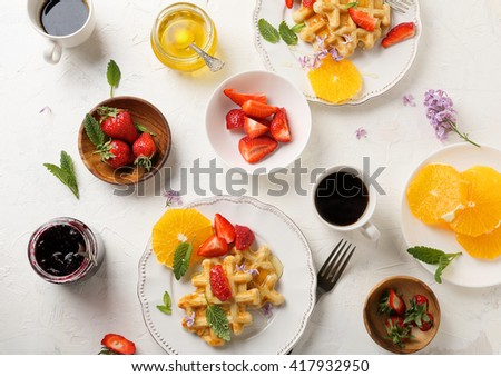 morning breakfast table, flatlays - stock photo