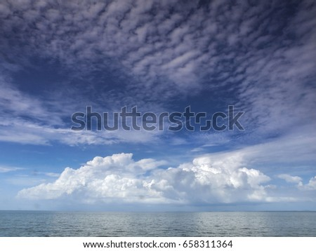 Morning cloud over the ocean in tthe gulf of Thailand near Koh Chang island in the east of the country.
