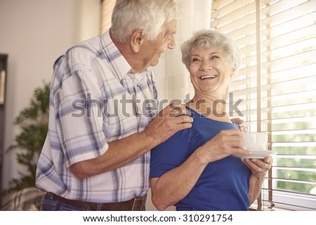 Morning coffee always comes us alive - stock photo