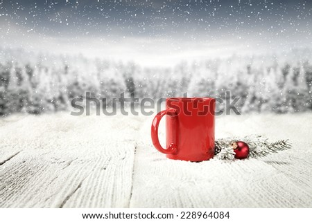 morning coffee and board of snow  - stock photo