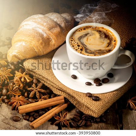 Morning coffee and croissant - stock photo