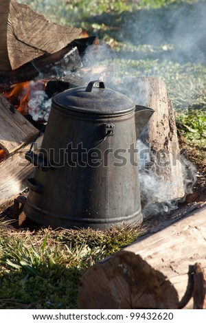 Morning coffee pot on the breakfast cook fire, a cowboy's tradition