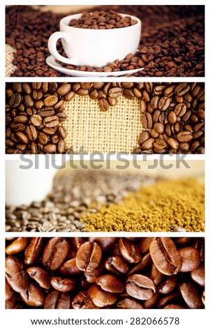 Morning coffee with Beans against heart indent in coffee beans