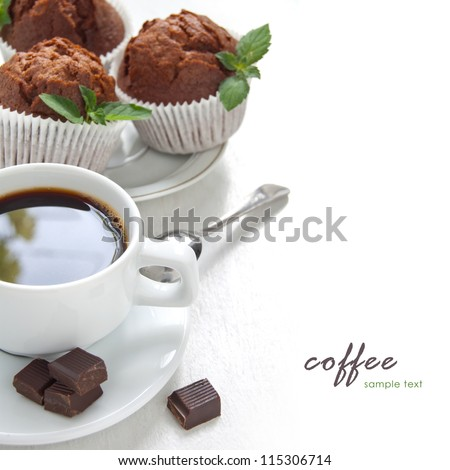 Morning coffee with chocolate muffins on the white background - stock photo