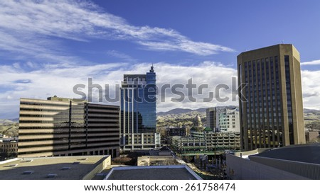Morning downtown city of Boise Idaho - stock photo
