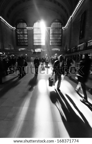 Morning dust at Grand Central Station - stock photo