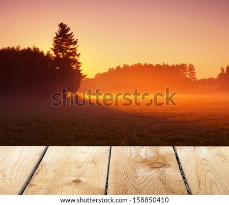 morning field landscape and wood floor - stock photo