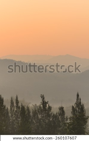 Morning fog in mountain and forests ,Central of Thailand,Travel Thailand