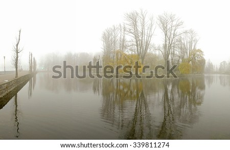 Morning fog in the autumn park