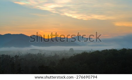 morning fog in the mountains before sunrise