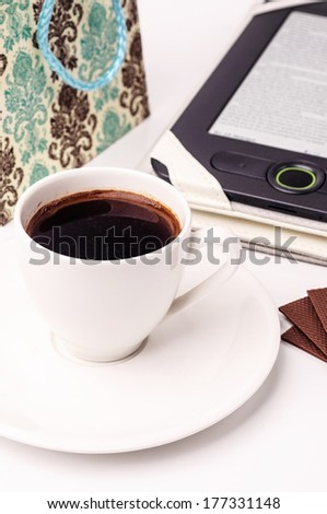 Morning gifts and a cup of coffee - stock photo