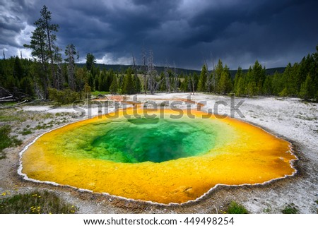 Morning Glory Pool at Yellowstone National Park - stock photo