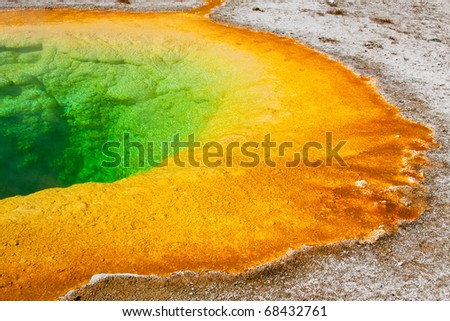 Morning Glory Pool in the Upper Geyser Basin of Yellowstone National Park, Wyoming. - stock photo