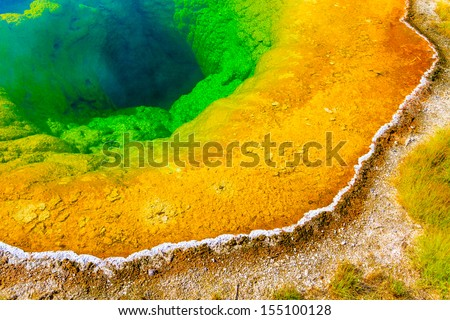 Morning Glory Pool, Yellowstone National Park, Upper Geyser Basin, Wyoming - stock photo