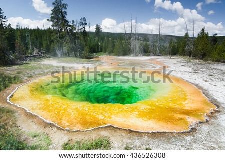 Morning Glory Pool, Yellowstone National Park. Yellowstone National Park is an active volcanic area. This colorful pool is in the west of the park in thermal area. Yellowstone park is in USA.