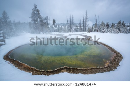 Morning Glory Thermal Pool, Yellowstone - stock photo