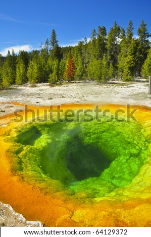 Morning Glory Thermal Pool. Yellowstone National Park, Wyoming - stock photo