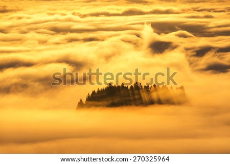 morning glow, golden cloudscape. view from west Vancouver  - stock photo