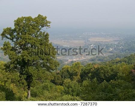 Morning haze over the valley and the scenic view of Shenandoah National Park in West Virginia. - stock photo