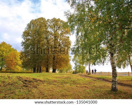 Morning in autumn park. Ples town in central Russia.