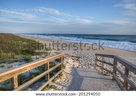 Morning in Cape Canaveral National Seashore in Florida. - stock photo