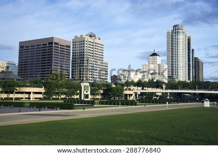 Morning in downtown Milwaukee, Wisconsin. - stock photo