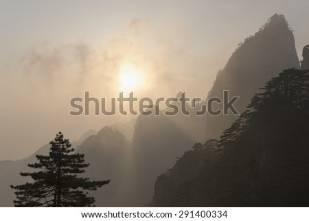 Morning in Huangshan mountains. Chinese landscape. - stock photo