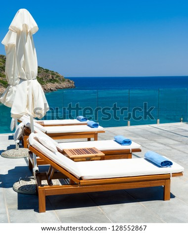 Morning in luxury resort near Mediterranean sea.  Crete. Greece