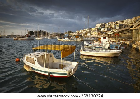 Morning in Mikrolimano marina in Athens, Greece. - stock photo