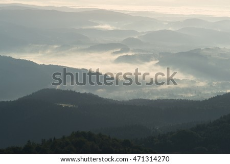 Morning in mountains, view from Gorce Mountains (Gorc Mount)