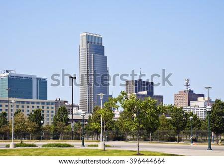 Morning in Omaha - skyline of the city. Omaha, Nebraska, USA. - stock photo