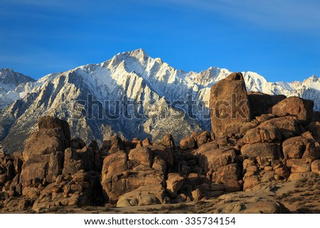 Morning in the Eastern Sierra Mountains, California, USA. - stock photo