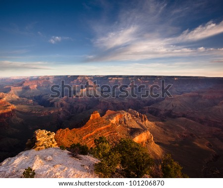 Morning in the Grand Canyon as viewed from the Yaki Point overlook on the canyon's south rim - stock photo