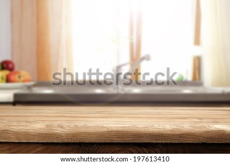 morning kitchen window and table of free space  - stock photo
