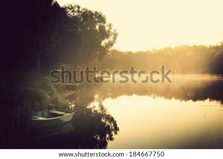Morning lake - stock photo