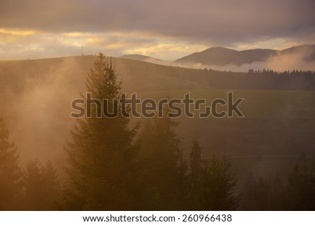 Morning landscape. Beautiful sunshine in the mountains. Colored mist. Beauty in nature - stock photo
