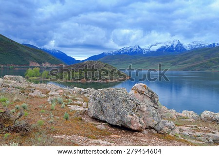 Morning landscape with a dramatic cloudy sky, Utah, USA. - stock photo